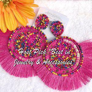Large Boho Seed Bead Fan Tassel Post Drop Earrings